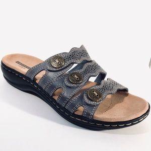 b304a3d67a1 Clarks Shoes - Clark s Leisa Grace Blue Leather Slide Low Sandal